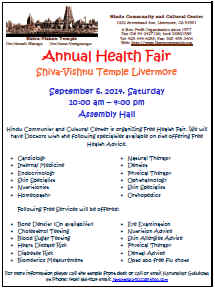 livermore temple free health fair flyer 2014