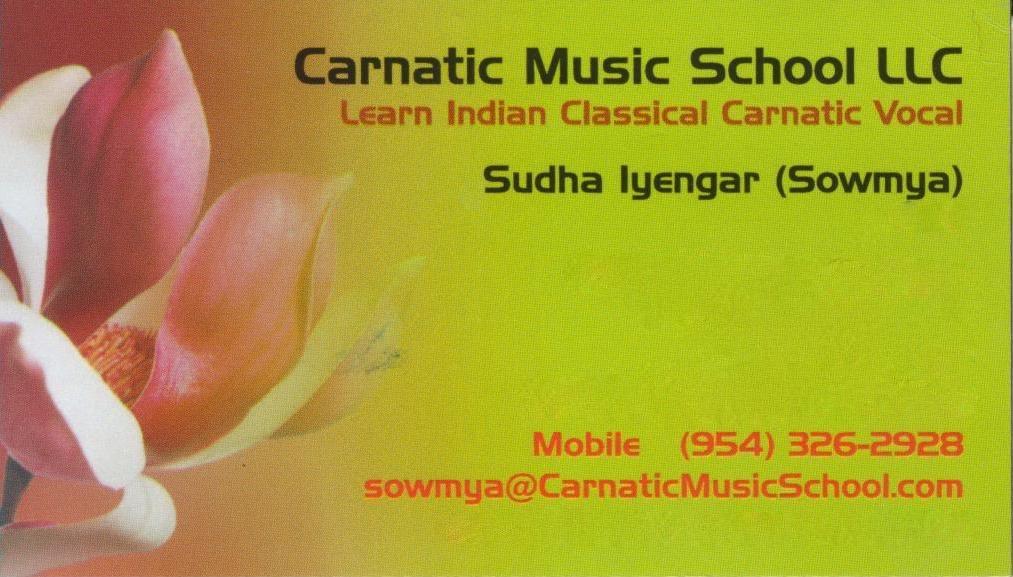 CMS LLC Business Card CA Learn Indian Classical Carnatic Vocal Music In Pleasanton