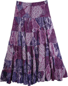 Purple Tiered Long Cotton Skirt