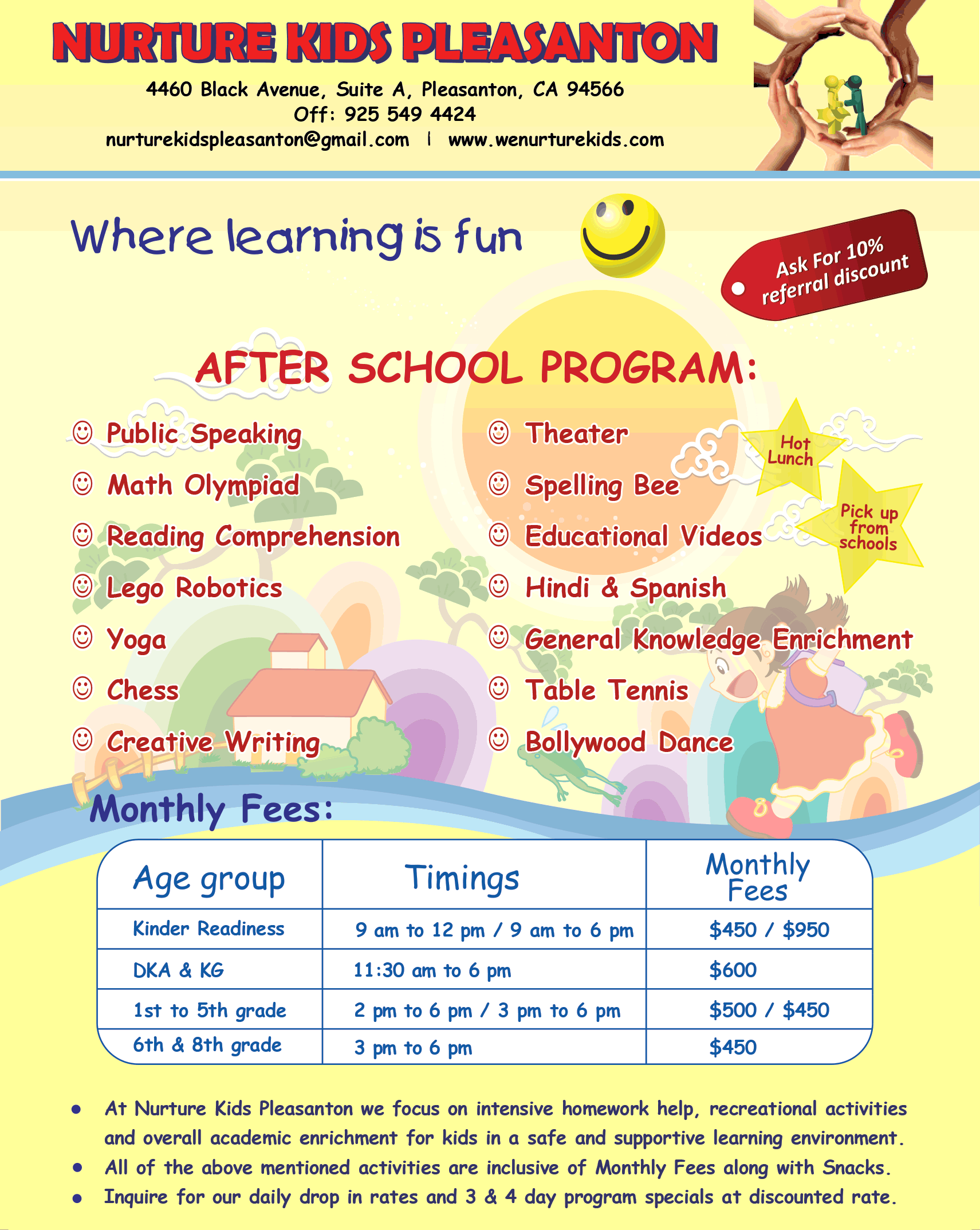 after school n desis in san ramon dublin pleasanton after school flyer