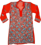 Orange Tunic with Blue Embroidery