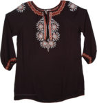 Black Embroidered Top with Sleeves
