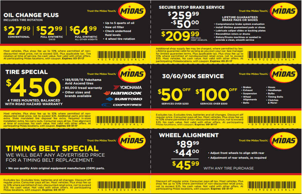 Midas discount coupons